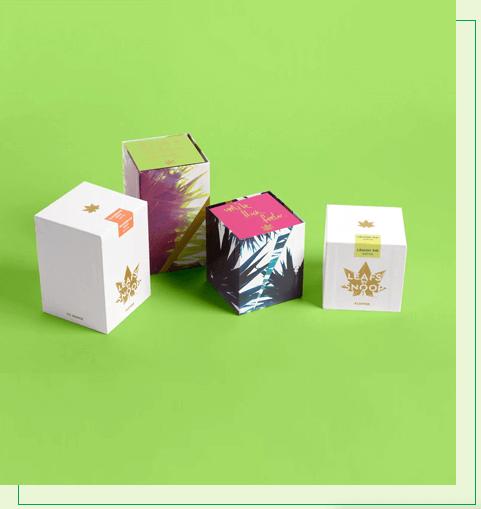 Vape cartridge boxes with a logo
